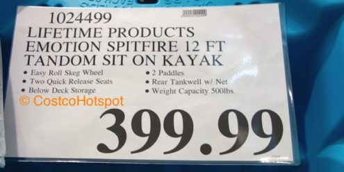 Lifetime Products Emotion Spitfire 12 Ft Tandem Sit-On Kayak Price | Costco Hotspot