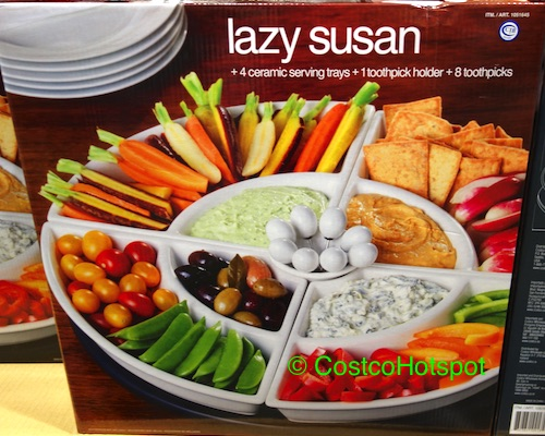 Wooden Lazy Susan with 4 Ceramic Trays | Costco Hotspot