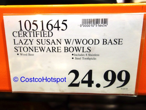 Wooden Lazy Susan with 4 Ceramic Serving Trays Price | Costco Hotspot