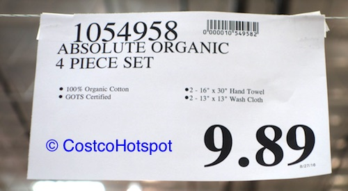 Absolute Organic Cotton 4-Piece Towel Set Price | Costco Hotspot