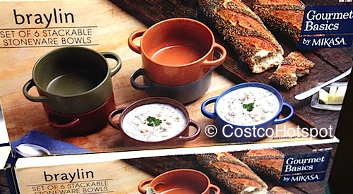 Gourmet Basics by Mikasa Braylin Set of 6 Stackable Stoneware Bowls Costco