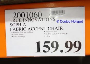 True Innovations Sophia Fabric Accent Chair Costco Price
