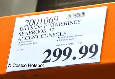 Bayside Furnishings Seabrook 47 Console Price Costco Hotspot