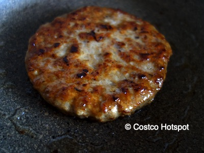 Kirkland Signature Fully Cooked Pork Sausage Patties in the fry pan | Costco