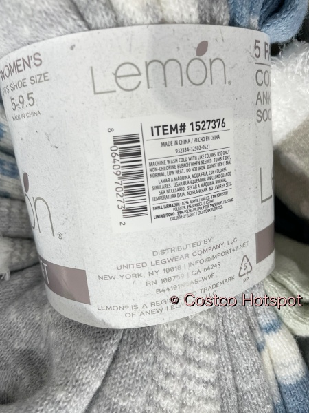 Lemon Cozy Ankle Socks | Care Instructions | Costco