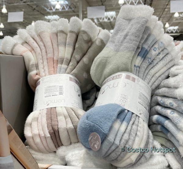 Lemon Cozy Ankle Socks side view | Costco Display
